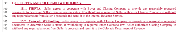 FIRPTA and Withholding Clause