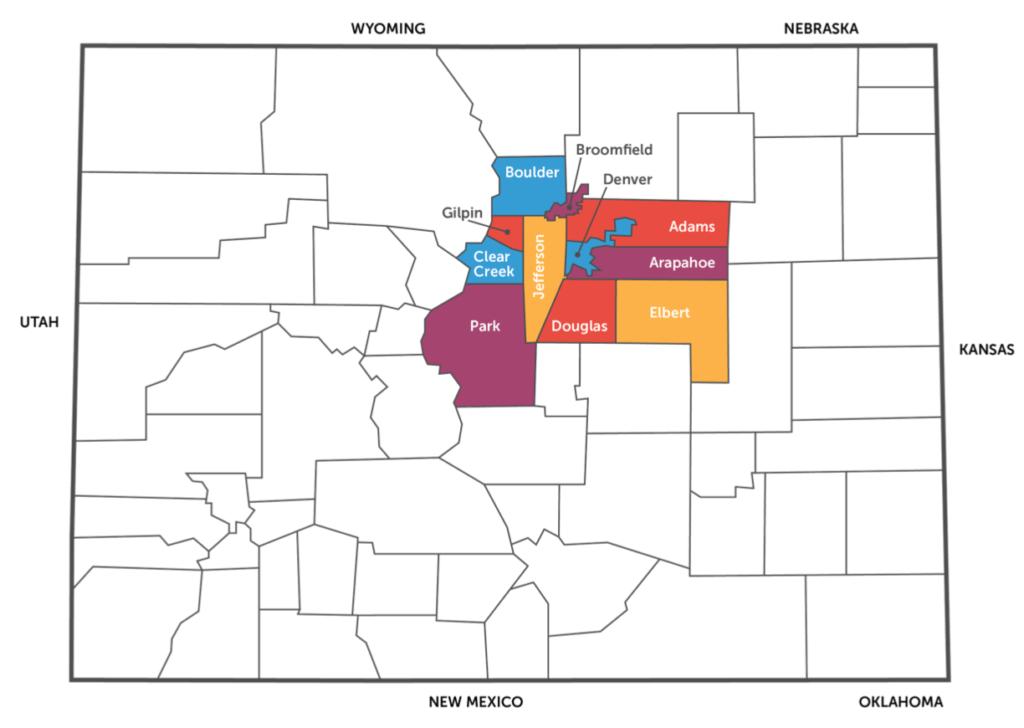Denver Area County Map