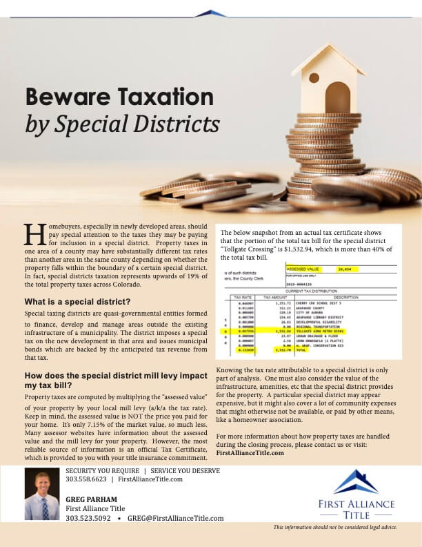 Beware Taxation By Special Districts Flyer